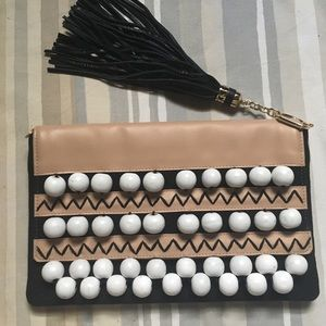 Stella Dot beaded canvas clutch with tassel New
